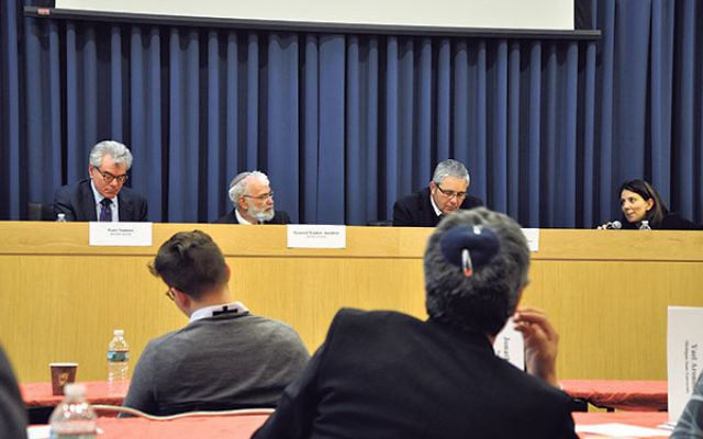 Taking part in a CISS panel on the next phase of the Iran nuclear deal are, from left, Gary Samore of Harvard University, General Yaakov Amidror of Bar-Ilan University, Ariel Levite of the Carnegie Endowment for International Peace, and conference cochair