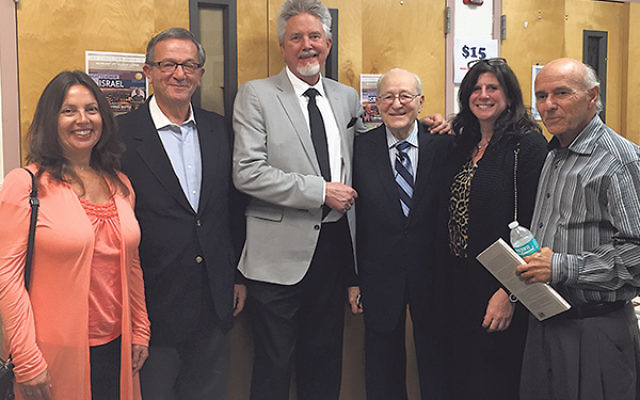 Among Jewish leaders at the Christians United for Israel event were, from left, Sheri Goldberg, chair of Israel and World Affairs at the Community Relations Committee of Greater MetroWest; Jim Daniels, chair of the CRC's Stop Iran Task Force; Victor