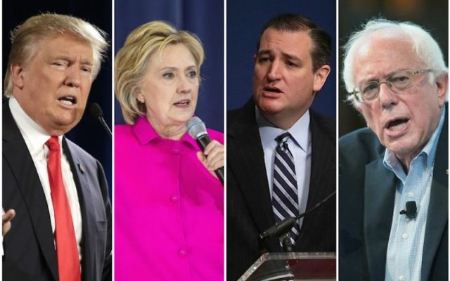 From left, presidential candidates Donald Trump, Hillary Clinton, Ted Cruz and Bernie Sanders. (Getty Images)
