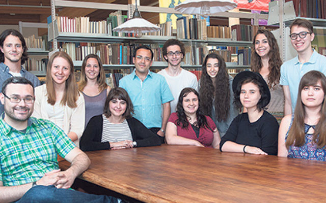 Jesse Cebulash, standing, sixth from left, as a participant in the Steiner Summer Yiddish Program in Amherst, Mass.