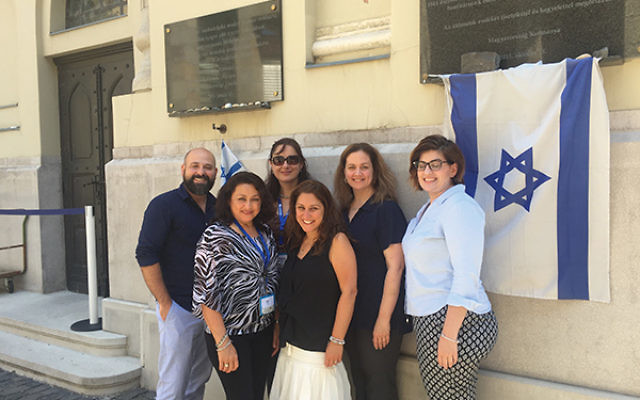 Teachers from Newark public schools with Ilyse Shainbrown, third from right, on a trip for educators to Jewish sites in Eastern Europe. Photos courtesy Ilyse Shainbrown