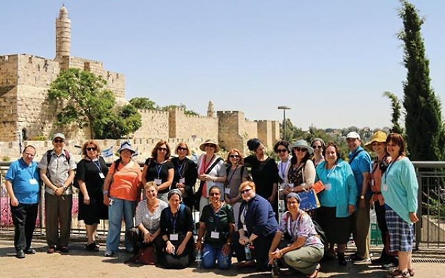 Jewish chaplains and health caregivers join with Israeli counterparts for a four-day seminar held in Arad and Ashdod in May. The group is photographed in Jerusalem. Cecille Asekoff is fourth from the right, standing. Photo courtesy Joint Chaplaincy Commit