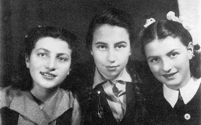 From left, Rena Margulies with Frieda Bernstein, a friend, and Fryda Tenenbaum, a cousin, in a displaced persons camp in Heidenheim.