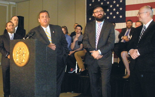 """Gov. Chris Christie said of the proposed Iranian nuclear deal, """"No deal is better than a bad deal."""" Joining him are, from left, World Values Network founder Rabbi Shmuley Boteach, Rabbinical Council of America president Rabbi Shalom Baum, Rutg"""
