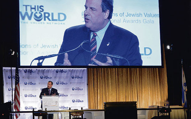 Gov. Chris Christie delivered a talk on foreign affairs during a May 20 gala for Rabbi Shmuley Boteach's Jewish Values organization.