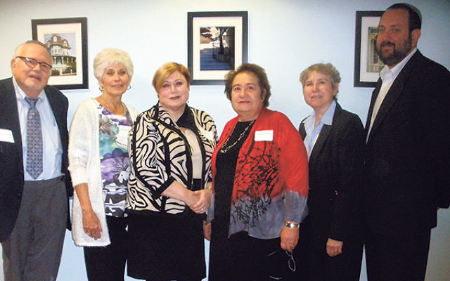 Leaders of a conference aimed at creating a corps of caring volunteers are, from left, Rabbi David Glicksman, Cantor Lee Coopersmith, Rabbi Shira Stern, Cecille Allman Asekoff, Rabbi Leslie Bergson, and Rabbi Bryan Kinzbrunner.