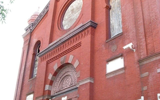 The Moorish facade of the building on Prince Street, once the home of Oheb Shalom Congregation, now part of the Greater Newark Conservancy.
