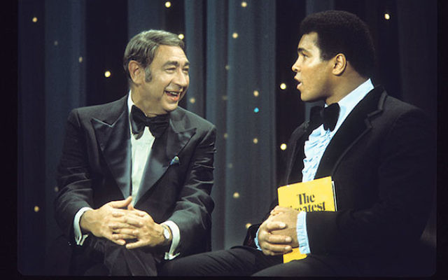 Howard Cosell, left, appearing with Muhammad Ali on Saturday Night Live, October 18, 1975.