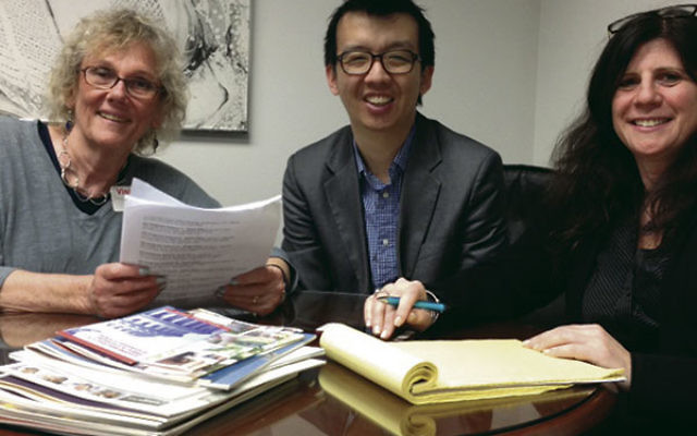 MAZON community organizer Samuel Chu meets with Essex County Freeholder Pat Sebold, left, and CRC director Melanie Roth Gorelick to plan an anti-hunger campaign.Photo by Robert Wiener