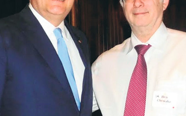 Sen. Ted Cruz (R-Tex.), left, a contender for the Republican presidential nomination, with NORPAC president Ben Chouake at its April 18 fund-raiser.