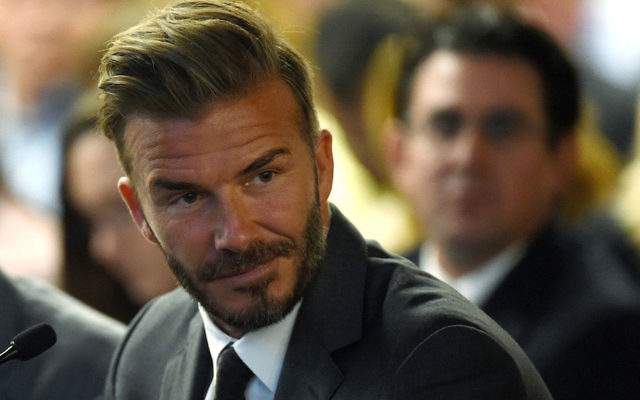 David Beckham looking on during a Southern Nevada Tourism Infrastructure Committee meeting at UNLV in Las Vegas, Nevada, April 28, 2016.