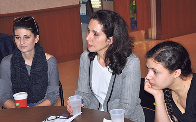 Discussing how to respectfully and fairly treat non-Jewish family members during the holiday season are, from left, Arielle Disick, Tricia Krietzberg, and Lily Krietzberg.