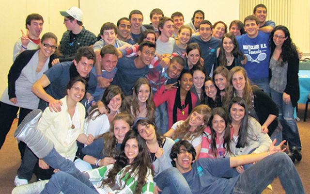 The Israeli and American members of the 2010-11 MetroWest cohort of Diller Teen Fellows at the closing ceremony of their program in New Jersey, April 2011.