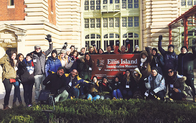 American and Israeli students from Project Gesher visit Ellis Island with their supervisors to learn about American-Jewish history during a walking tour on Dec. 18.