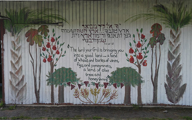 A mural decorates one of the walls of Tel Yehudah's dining hall.