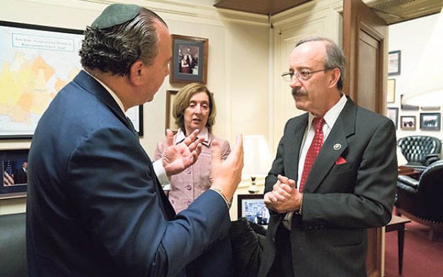 FFEU president Rabbi Marc Schneier, left, and Sheryl Olitzky of the Sisterhood of Salaam/Shalom meet with Rep. Eliot Engel (D-NY, Dist. 16).
