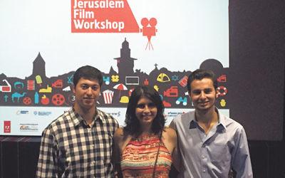 NJ participants in the Jerusalem Film Workshop, from left, Jamie Blenden, Shira Gorelick, and Jeremy Gross.
