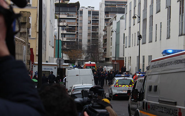 The scene of the Jan. 7 Muslim terror attack on the offices of theCharlie Hebdosatirical newspaper in Paris.