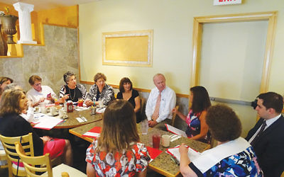 Rep. Rodney Frelinghuysen often avoids large constituent gatherings. In July he met at a diner with members of Hadassah's Northern NJ region. Photos by Robert Wiener