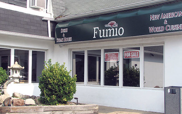 Fumio, a kosher restaurant in Livingston, is now closed, and the building is for sale.