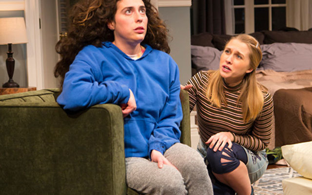 """Laura Lapidus, left, as Daphna, engages with her cousin Liam's """"shiksa"""" girlfriend, Melody (Maddie Jo Landers), in George Street Playhouse's production of """"Bad Jews."""" Photo by T. Charles Erickson."""
