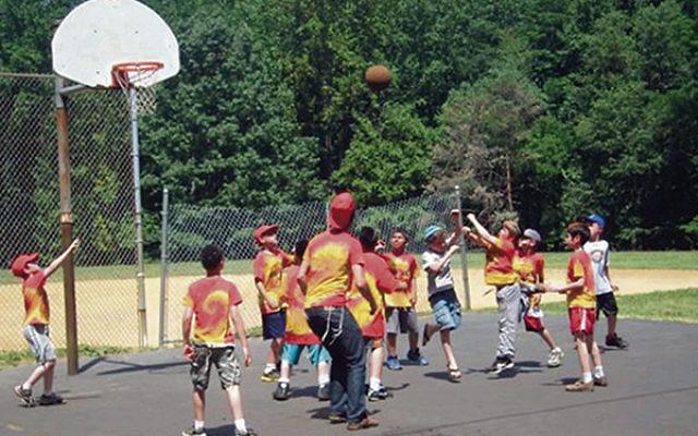 Basketball was among the activities at Camp Gan Israel.