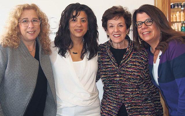 At the Anthony Garubo Salon are, from left, NCJW/Essex president Deborah Legow Schatz; Janine Garubo Austin, daughter of salon owner Anthony Garubo; Myrna Wertheimer, long-term client at the salon; and Pat Kremen, career services manager at NCJW/Essex Cen