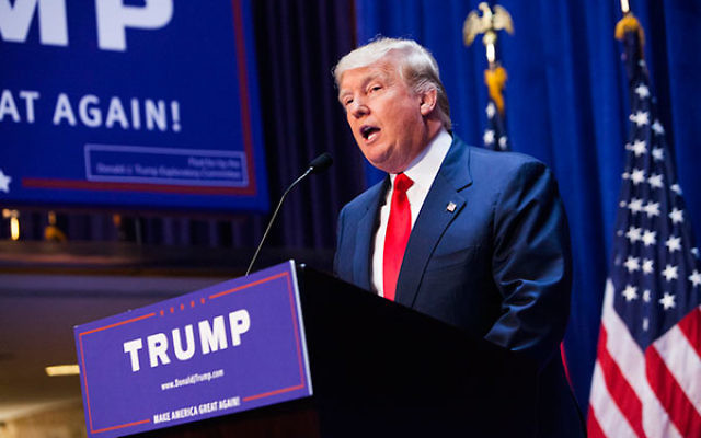 Donald Trump announcing his candidacy for the U.S. presidency at Trump Tower in New York City, June 16, 2015. (Christopher Gregory/Getty Images)