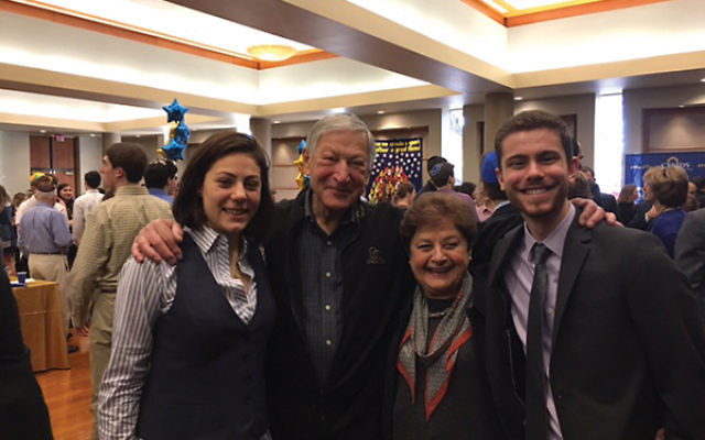 Grandchildren in Maryland unite Newark friends. From left, Mollie Milchberg with her grandfather Sam Convissor, and Ruth Septee, with grandson Ethan Kahn. Photo courtesy Rena Convissor