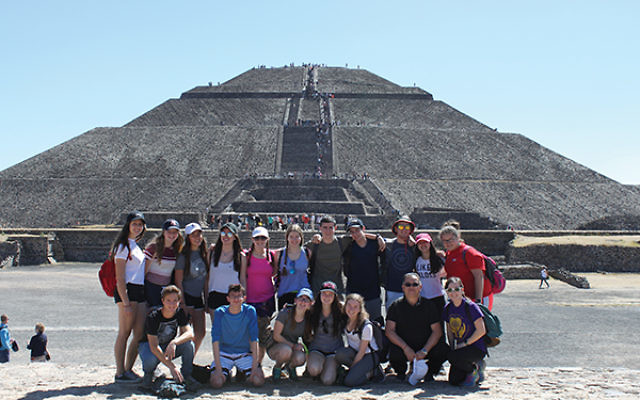 Members of the Golda Och Academy GoAbroad Exchange Program with peers from Colegio Israelita de Mexico ORT at the Teotihuacan pyramids.