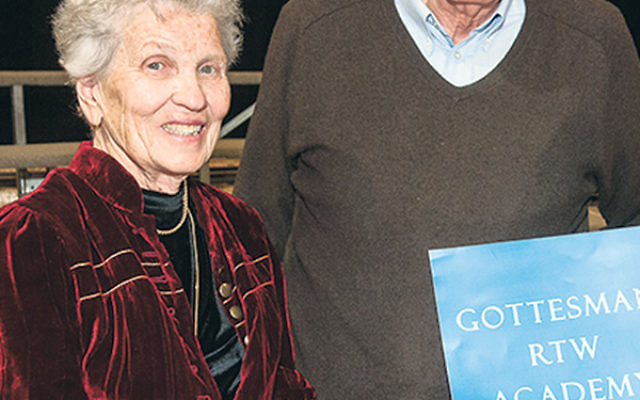 "The Paula and Jerry Gottesman Family Supporting Foundation is funding ""Vision 2025,"" aimed at making day school more affordable to middle-income families; the Gottesmans are seen celebrating the renaming of Hebrew Academy of Morris County to G"