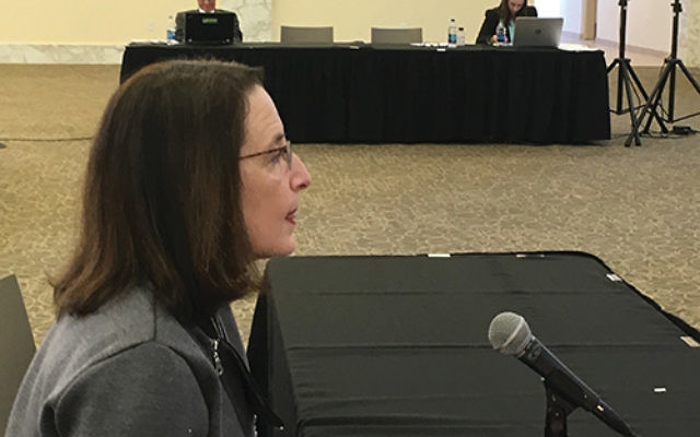 """Leslie Dannin Rosenthal, left, president of the Jewish Federation of Greater MetroWest NJ, told a State Senate subcommittee that although the Jewish community is resilient, """"we really need the state's help."""" Photo by Linda Scherzer"""