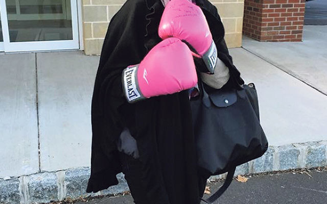 """Linda Grenis gets ready for the """"fight"""" — her third chemo treatment."""