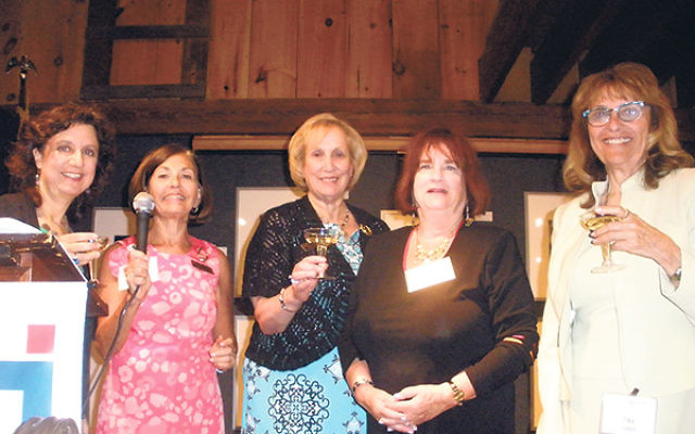 Celebrating the 18th anniversary of Southern NJ Hadassah's Keepers of the Gate program are, from left, Southern NJ region co-vice presidents of fund-raising Debbie Kestin-Schildkraut and Michelle Krasner, region president Sherryl Kaufman, national s