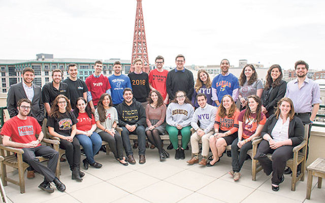 Included among the 24 members of the Hillel International Student Cabinet are Mikhael Smits of Princeton University and Evan Gottesman of Rutgers University, sixth and seventh, respectively, from the left, standing.