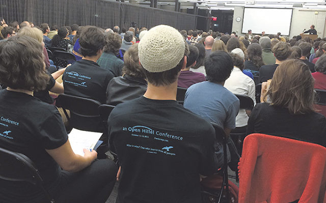 The opening plenary of the Open Hillel conference at Harvard University in Cambridge, Mass., Oct. 12.