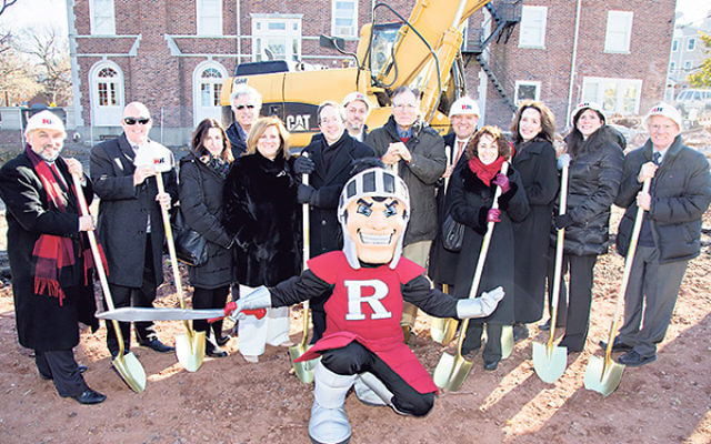 Statewide leaders of the Jewish federation system join Rutgers Hillel leaders at the recent ground breaking for Hillel's new Eva and Arie Halpern Hillel House.