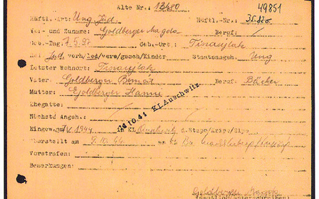 The Nazi transfer document signed by Devorah Hilsenrath as she arrived at Auschwitz on May 7, 1944, which she obtained through the International Tracing Service.