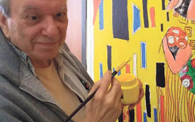 NJ artist Richard Hoffman produced a replica of The Kiss to brighten the wall of a senior center near Sde Nahum.