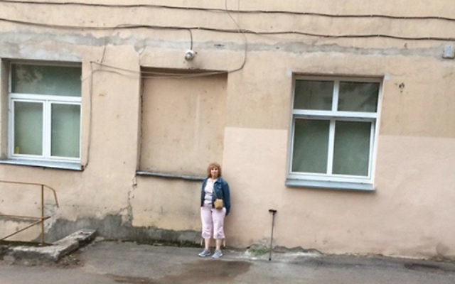 Debra Maller in front of the school in Vilnius where a relative once served as director. Photos courtesy Debra Maller