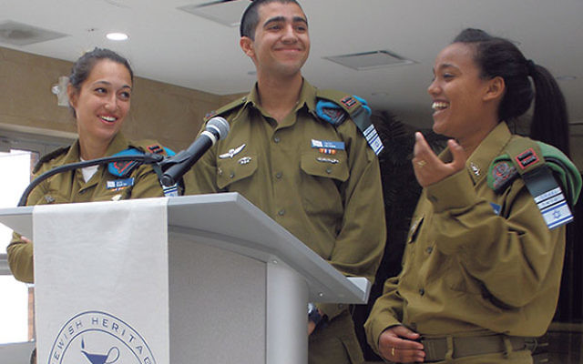 IDF officers, from left, Yonah, Or, and Tikvah told students at Hillel Yeshiva High School to learn about and defend Israel.