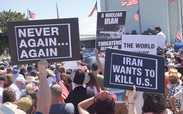 Hundreds of people protesting against the Iran nuclear deal on July 26, 2015, in Los Angeles, Calif.