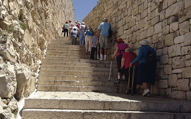 The ability to climb steps, like these in the Old City of Jerusalem, was a requirement for participating in the JCC MetroWest seniors' trip to Israel.