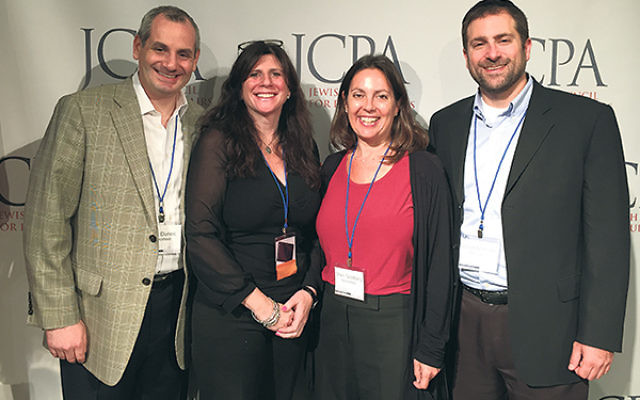 Delegates from the Community Relations Committee of the Jewish Federation of Greater MetroWest NJ, from left, Mark Dunec, Melanie Roth Gorelick, Sheri Goldberg, and Elliot Mathias, after an Oct. 12 session of the Jewish Committee for Public Affairs'