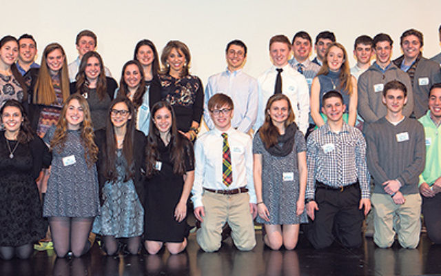 Graduating seniors from the Jewish Community Youth Foundation at their check presentation ceremony.
