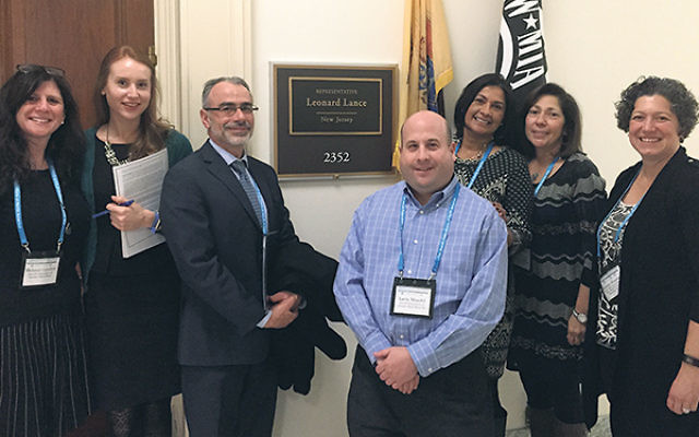 On Jewish Disability Advocacy Day, meeting with Mollie McDonnell, second from left, legislative aide to Rep. Scott Garrett, are, from left, Melanie Roth Gorelick, John Winer, Larry Mandel, Addy Bonet, Linda Press, and Rebecca Wanatick.