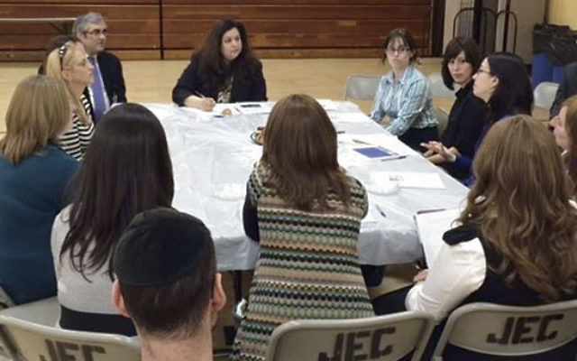 During a visit to JEC, Assemblywoman Annette Quijano discusses efforts to get more state funding for special-needs education at private schools.