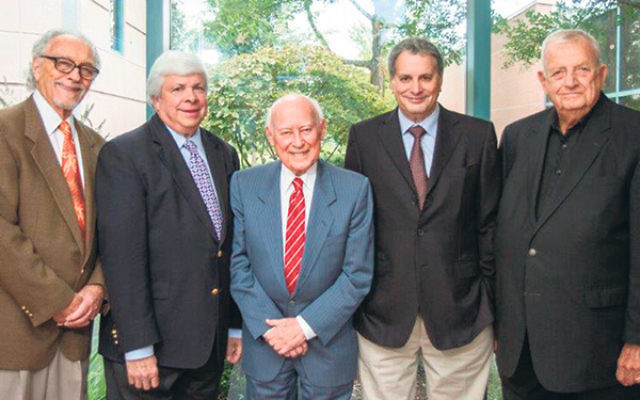 JHS presidents gathering this year to celebrate the 25th anniversary are, from left, Howard Kiesel (2008-12), Robert G. Rose (2012-present), Robert R. Max (2002-06), Warren Grover (1996-2002), and Dr. Jerome Horowitz (2006-08). Missing is the society&rsqu