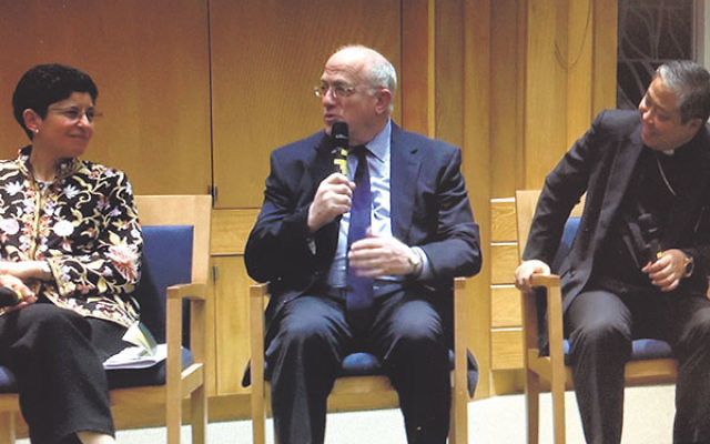 Discussing the role of religion in diplomacy at the Jewish Theological Seminary are, from left, Archbishop Bernadito Auza, former U.S. Ambassador to Israel Daniel Kurtzer, and Azza Karam, director of the UN Interagency Task Force on Religion and Developme