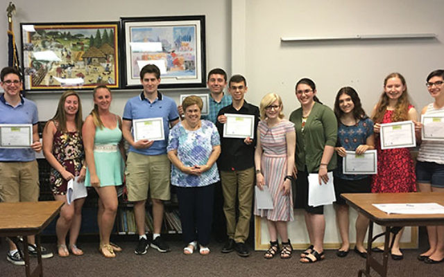 J Team coordinator Linda Benish, fifth from left, with graduates of the J Team Teen Philanthropy Program. Photo courtesy Jewish Federation in the Heart of New Jersey